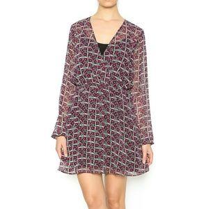 BCBG long sleeve floral dress NWT sz XS M